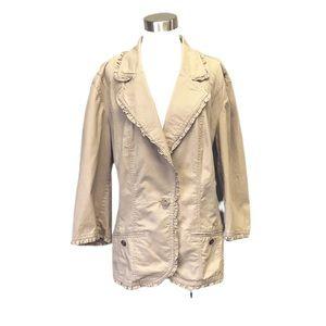 SWAK khaki coat with ruffle trim